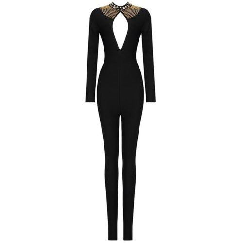 Hollow Out Beadded Neck Bandage Jumpsuit K282 7