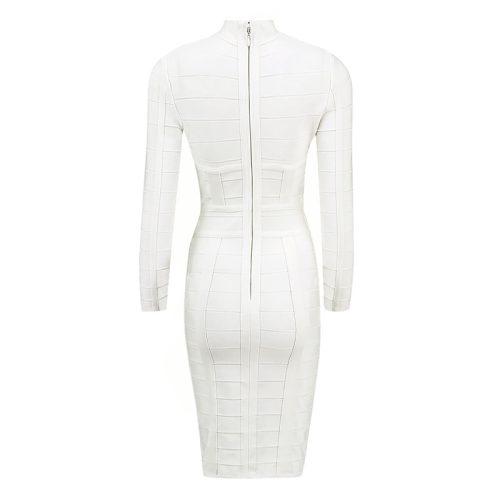 WHITE CUT OUT LONG SLEEVE BANDAGE DRESS K286 5