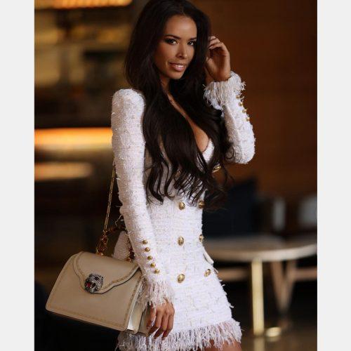 White Fringed Dress with Gold Check Blazer Dress K279 22