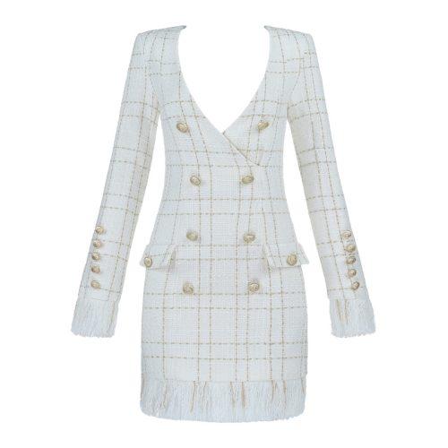 White Fringed Dress with Gold Check Blazer Dress K279 23