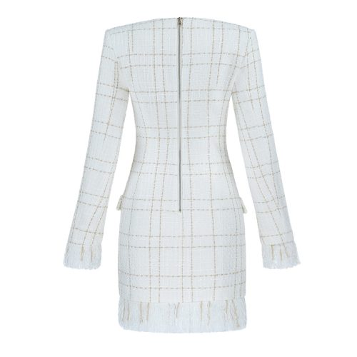 White Fringed Dress with Gold Check Blazer Dress K279 31