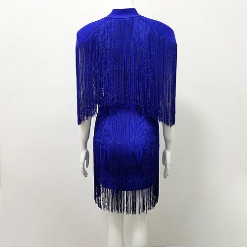 BLUE TASSEL HOLLOW OUT BANDAGE DRESS K299 1