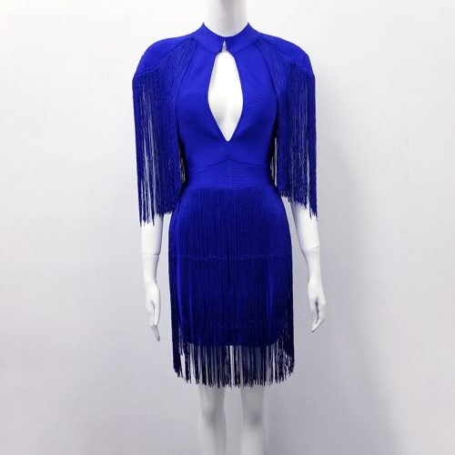 BLUE TASSEL HOLLOW OUT BANDAGE DRESS K299 3