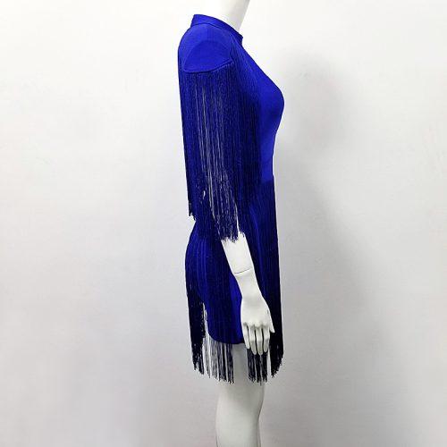 BLUE TASSEL HOLLOW OUT BANDAGE DRESS K299 4