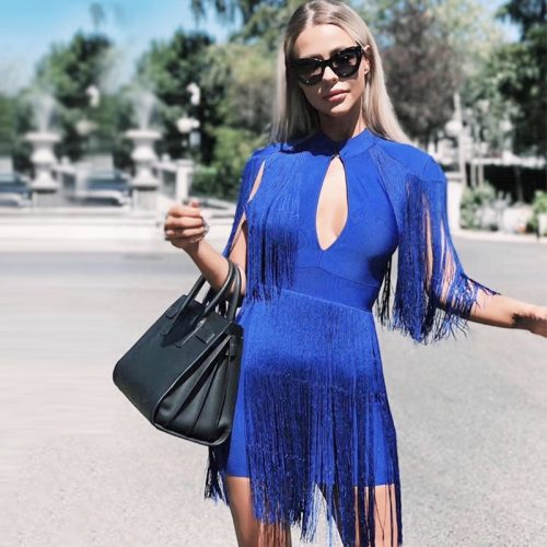 BLUE TASSEL HOLLOW OUT BANDAGE DRESS K299 5