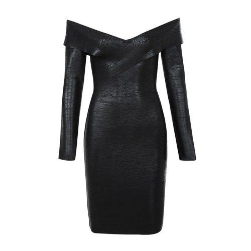 OFF THE SHOULDER METALLIC BLACK BANDAGE DRESS K300 15