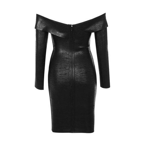 OFF THE SHOULDER METALLIC BLACK BANDAGE DRESS K300 16