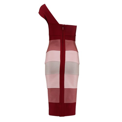 SINGLE SHOULDER BANDAGE FABRIC SPLICING DRESS K30551