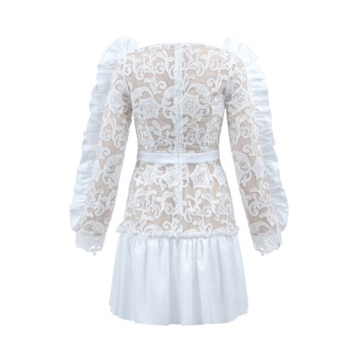 WHILE FLOWER LACE FLOUNCING BODYCON DRESS K290 32
