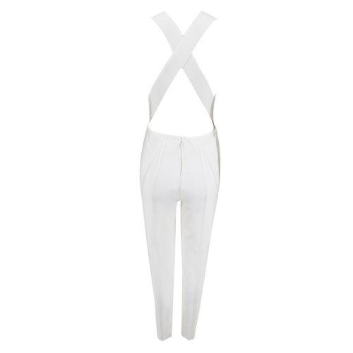WHITE V NECK CROSS BACKLESS JUMPSUIT K307 3