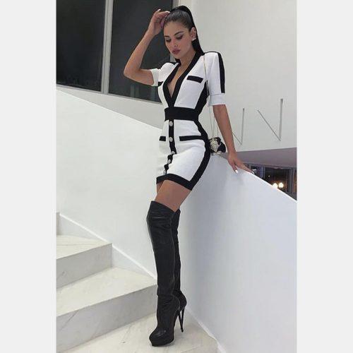 Black Stripe Bandage Dress K342 11