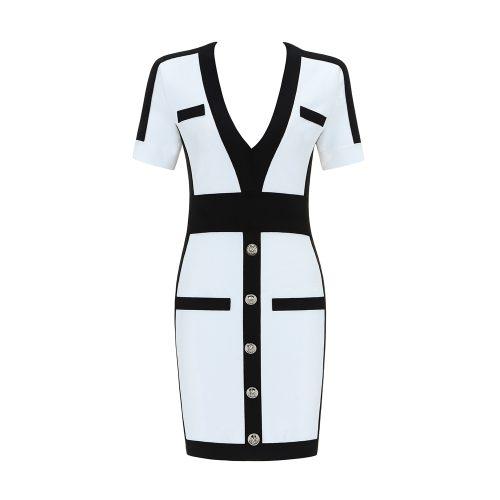 Black Stripe Bandage Dress K342 2