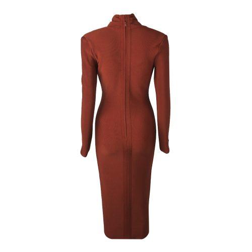 Deep V Long Sleeve Bandage Dress K319 15