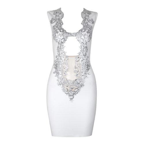Golden Lace Hollow Out Bandage Dress K316 4