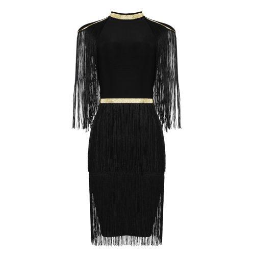 Golden Stripe Tassel Bandage Dress K337 12
