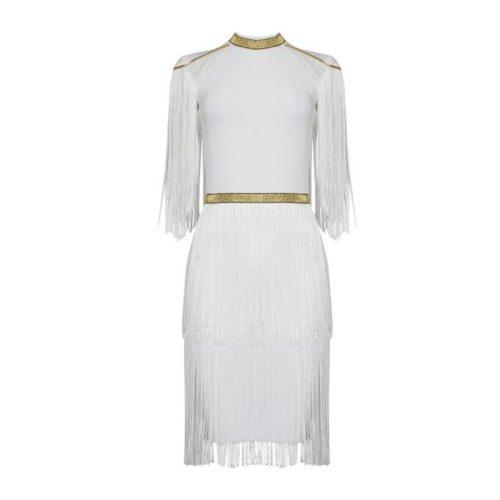 Golden Stripe Tassel Bandage Dress K337 17