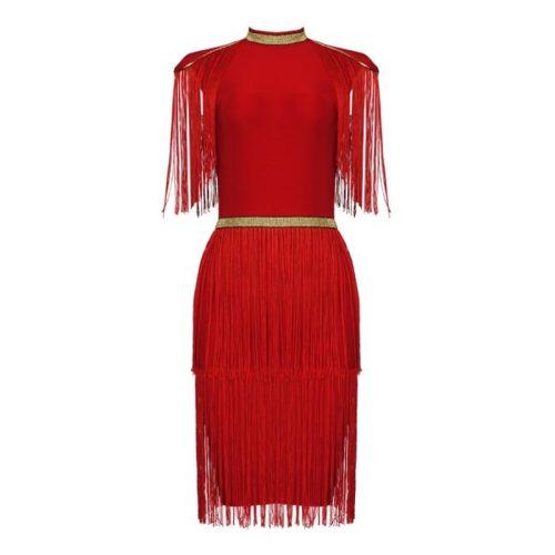Golden Stripe Tassel Bandage Dress K337 18
