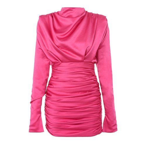 Satin Draped Mini Dress K324 15 1