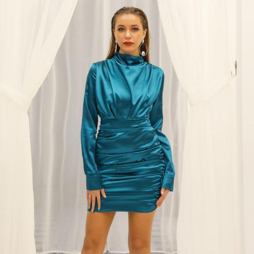 Satin Draped Mini Dress K324 23