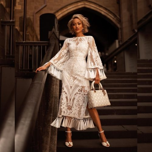 White Sequined Mesh Maxi Dress K338 19 1