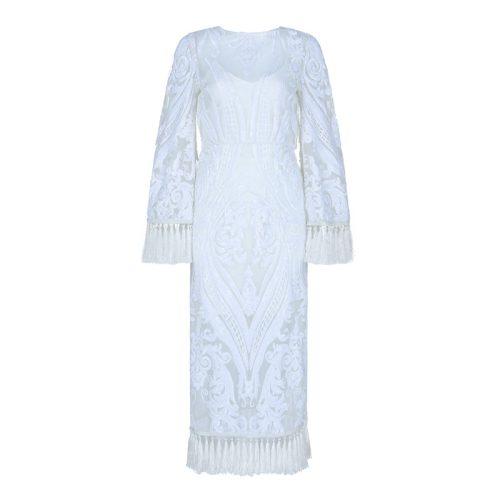White Sequined Mesh Maxi Dress K338 21