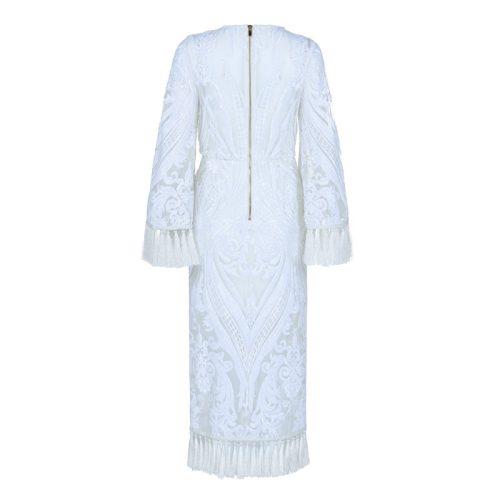 White Sequined Mesh Maxi Dress K338 22