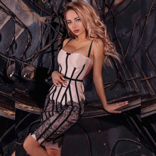 Black Stripe Bandage Dress K355 7