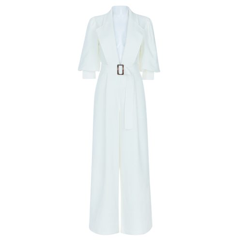 Elegant White Jumpsuit K399 12