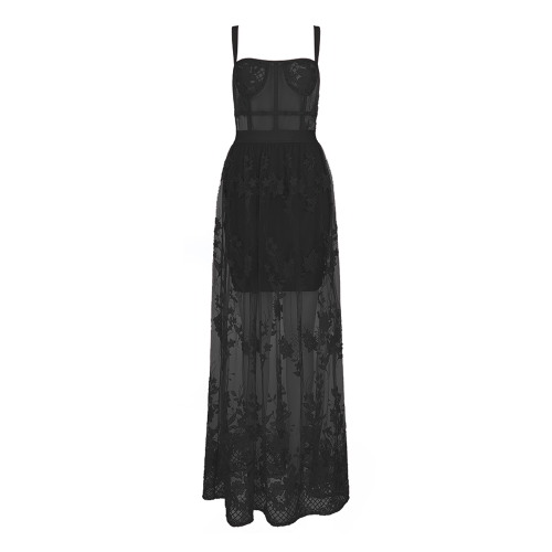 Lace Embroider Bandage Maxi Dress K354 23