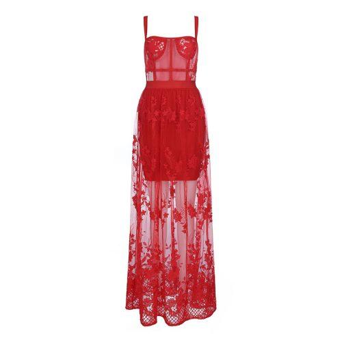 Lace Embroider Bandage Maxi Dress K354 24