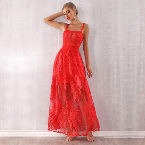 Lace Embroider Bandage Maxi Dress K354 27
