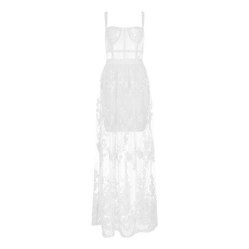 Lace Embroider Bandage Maxi Dress K354 41