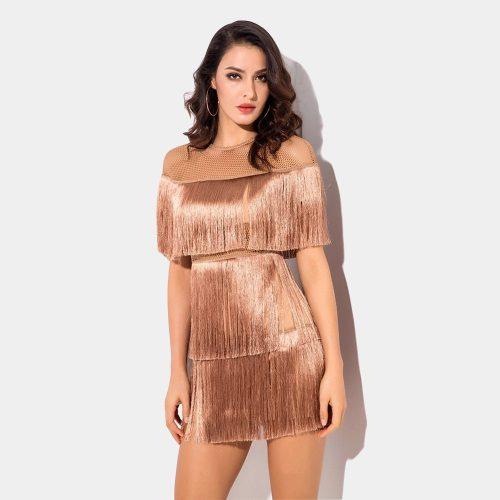 Tassel Mesh Mini Dress K349 1