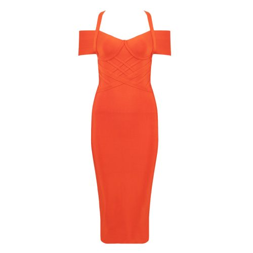 Orange-Off-Shoulder-Bandage-Dress-K412-6