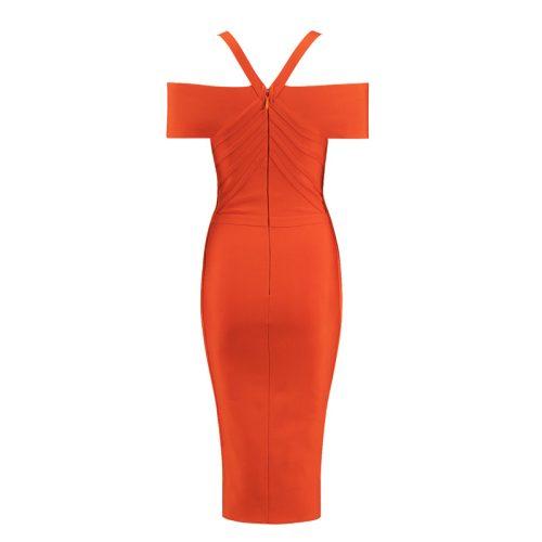 Orange-Off-Shoulder-Bandage-Dress-K412-7