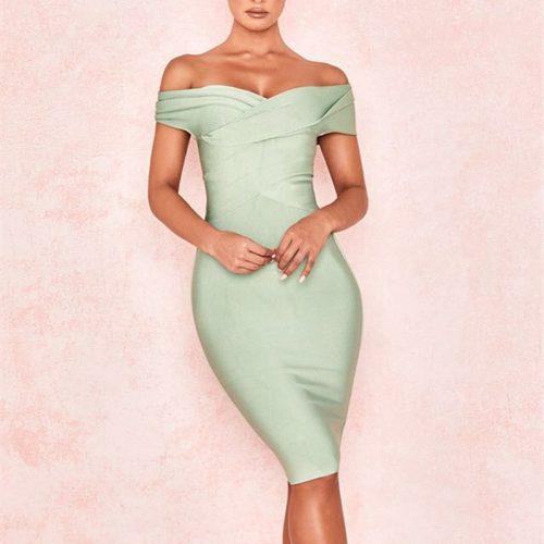 Light-Green-Off-Shoulder-Bandage-Dress-K448-3-1