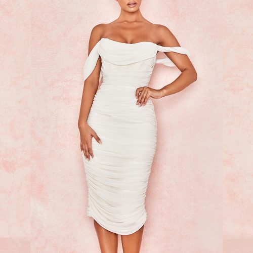 Gathered-Oranza-Mesh-Off-Shoulder-Bandage-Dress-K454-3-1