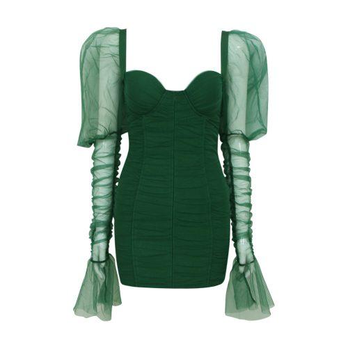 Gathered-Oranza-Mesh-Long-Sleeve-Dress-K469-2