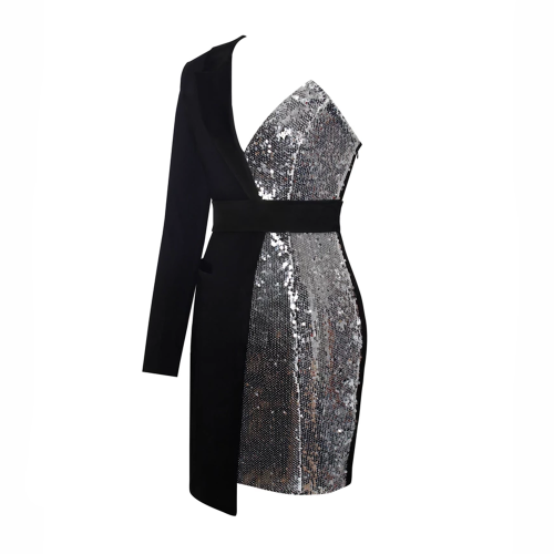 Sequin-Irregular-Sleeve-Dress-K47122