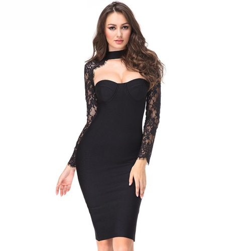Long-Sleeve-Lace-Bandage-Dress-K566-11