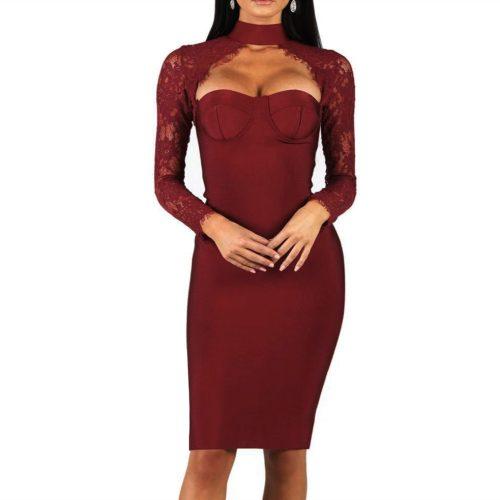 Long-Sleeve-Lace-Bandage-Dress-K566-9