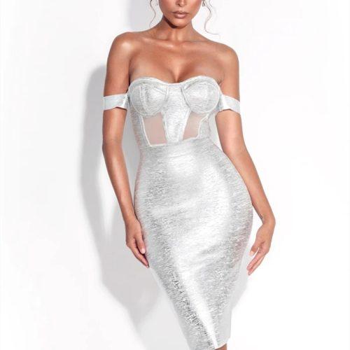 Metallic-Off-Shoulder-Bandage-Dress-K714-5