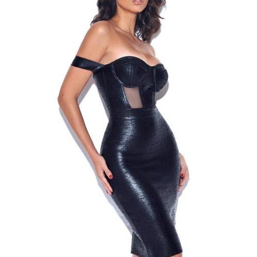 Metallic-Off-Shoulder-Bandage-Dress-K714-9