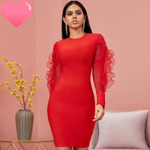 Red-Mesh-Sleeve-Bandage-Dress-K726-1