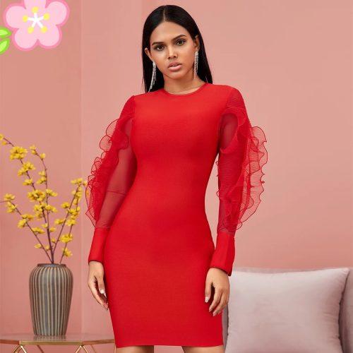 Red-Mesh-Sleeve-Bandage-Dress-K726-4