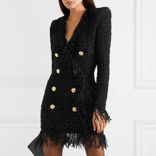 Black-Fringed-Dress-with-Gold-Check-Blazer-Dress-K680-1