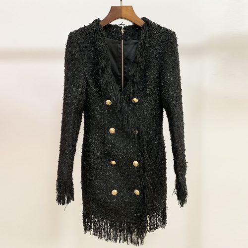 Black-Fringed-Dress-with-Gold-Check-Blazer-Dress-K680-2