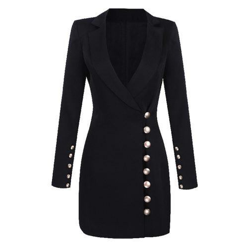 Deep-V-Gold-Buttons-Blazer-Mini-Dress-K651-4