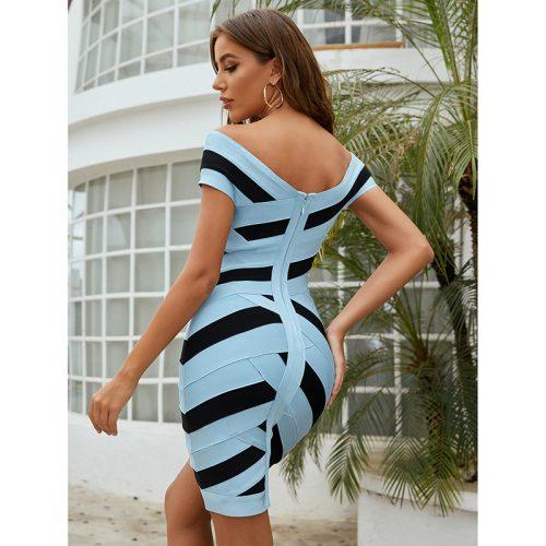 Blue-and-Black-Stripe-Bandag-Dress-K976-2