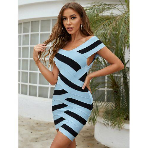Blue-and-Black-Stripe-Bandag-Dress-K976-5